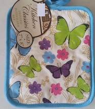 "Set of 2 Printed JUMBO Pot Holders, 7"" x 8"",  blue color back, BUTTERFLI... - $7.91"
