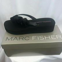 Marc Fisher MFMUSSA Womens Size 9.5 Black Open Toe Wedge Sandals Shoes - $26.95