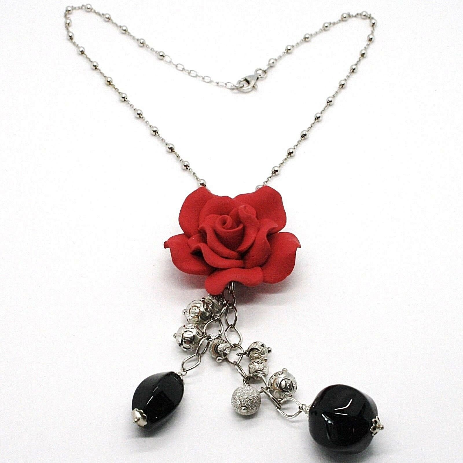 Necklace Silver 925, Onyx Black, Pink Red, Flower, Chain Balls