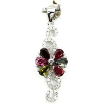 Pendant Tourmaline multicolored . Silver 925 + 925 silver chain - $94.32