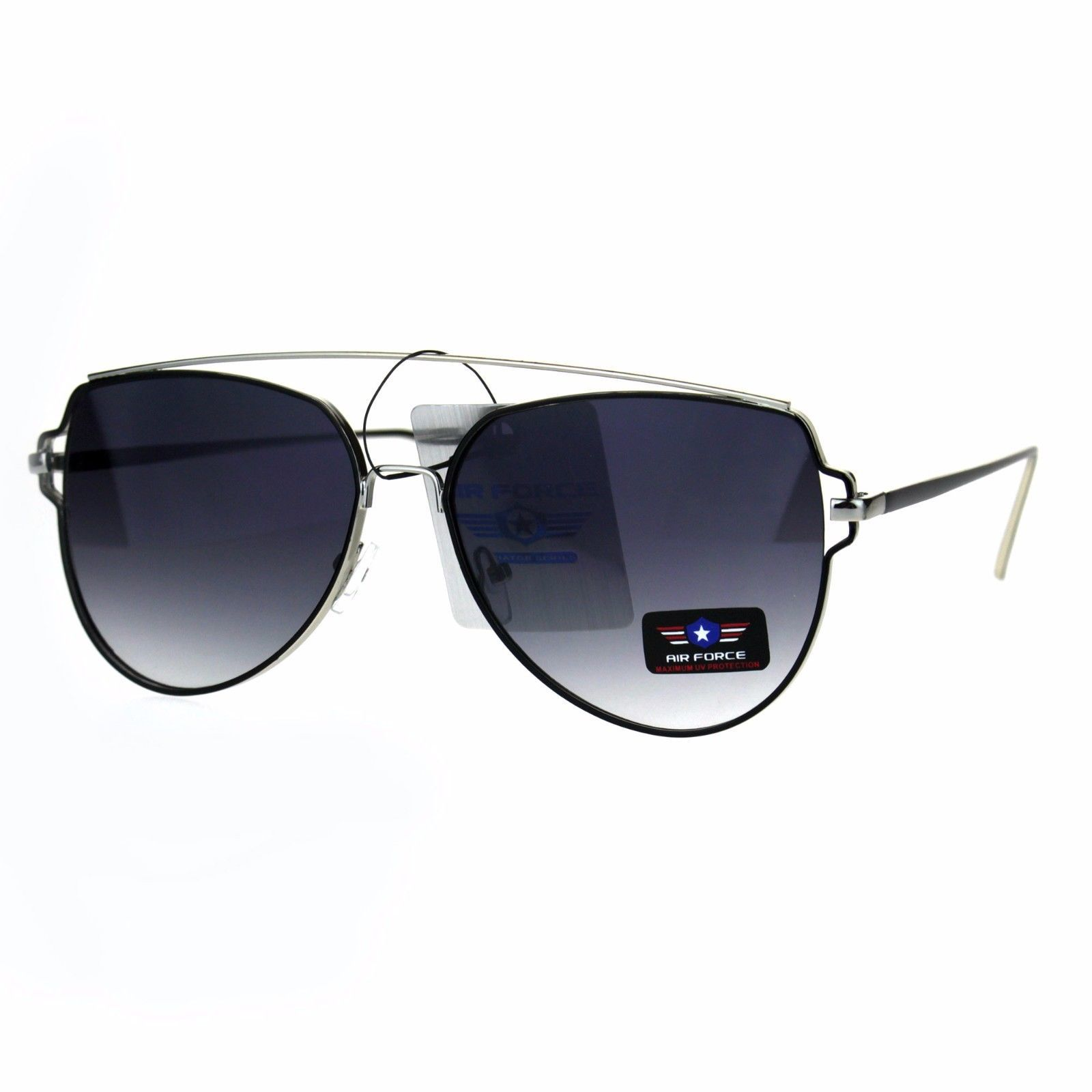 e51b5d31aa9 ... Air Force Flat Top Bar Squared Retro Pilots Metal Rim Sunglasses ...