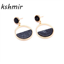Earrings Handmade fashion simple geometric circular marble long girls po... - $8.89
