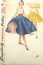 "Vtg 50s Pattern Simplicity #4753 Girl's Circle Skirt SZ 8 Waist 23"" Tran... - $19.56"