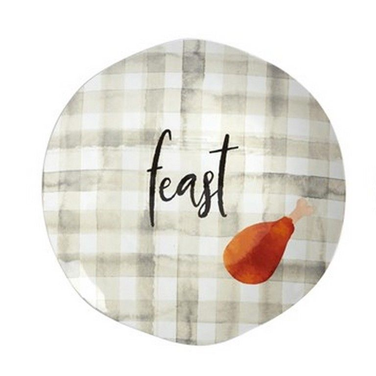 "Thanksgiving Feast Plaid Heavyweight Melamine 8.5"" Salad Dessert Plates Set/ 6"