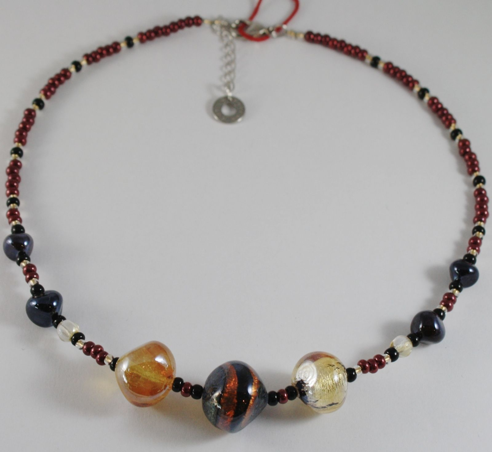 ANTICA MURRINA VENEZIA NECKLACE MULTICOLOR, BIG AMBER AND BLACK NUGGETS