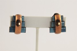 VINTAGE Jewelry MATISSE COPPER BLUE ENAMEL PETER PAN PYRAMID CLIP EARRINGS - $15.00