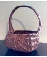Antique Egg Gathering Basket Primitive Oak Splint Triple Row Buttocks St... - $49.50