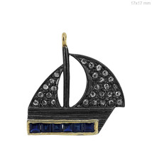 14k Yellow Gold Blue Sapphire Gemstone Ship Charm Pendant Diamond Pave S... - $73.87