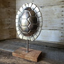 METAL TURTLE SHELL INDUSTRIAL CHIC HOME  OFFICE DECOR 3D ON WOOD STAND - $24.18
