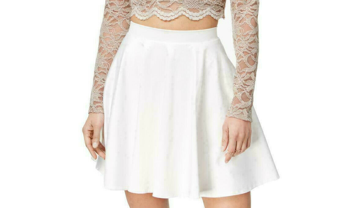 City Studio Junior's Satin Ivory/White Mini Fit & Flare Party Skirt Size 5