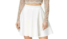 City Studio Junior's Satin Ivory/White Mini Fit & Flare Party Skirt Size 5 - $19.79