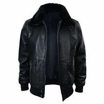 Mens G1 Aviator Air Force Pilot Fur Collar B3 Bomber Black Faux Leather Jacket image 1