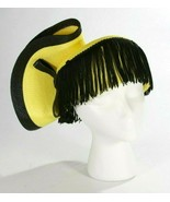 Sylvia NY Asymmetrical Yellow Black Straw Fringe Fancy Church Wedding Pa... - $41.02