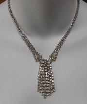 Vintage Faceted Clear Rhinestone Tassel Necklace - $59.40