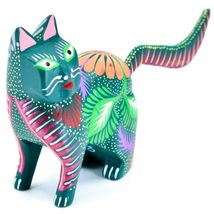 Handmade Alebrijes Oaxacan Copal Wood Carving Painted Cat Kitten Figurine image 5