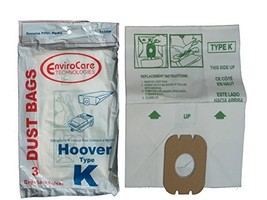 EnviroCare 3 Hoover Spirit Style K Canister Vacuum Cleaner Bags - $4.81