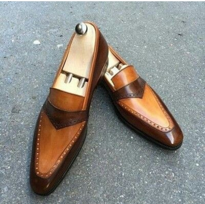 Handmade Men's Brown Leather Slip Ons Loafer Shoes