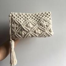 Macrame Bag | Macrame Pouch Bag | Hand Made Macrame Bag | Small Macrame Bag - $60.69