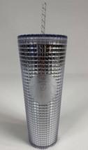 New Starbucks Silver Grid Disco Holiday 2020 Venti Cold Cup Tumbler 24oz - $37.50