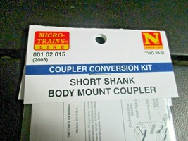 Micro-Trains Stock # 00102015 (Short Shank Body Mount Couplers 2 Pair N-Scale image 2