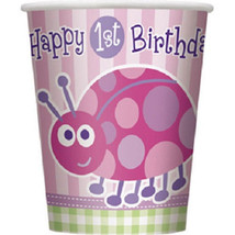 1st Birthday Ladybug Pink 8 ct 9 oz Hot/ Cold Paper Cups - $2.49
