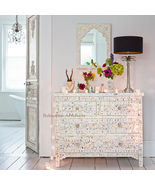 8b3db73e3f31 Bone Inlay Floral Design Chest Of Drawer With 4 Drawers - Bohemian Artef.