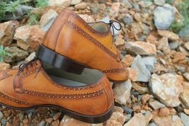 Handmade Men's Brown Wing Tip Brogues Lace Up Dress/Formal Oxford Shoes image 4