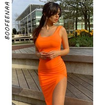 BOOFEENAA Neon Green Orange Pink Sexy Summer Dress 2019 Casual Tank High... - $36.71