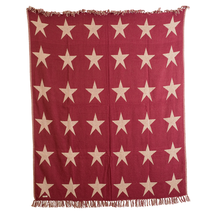 BURGUNDY STAR Woven Throw - 60x50 - Country Farmhouse - Burgundy/Tan -VHC Brands