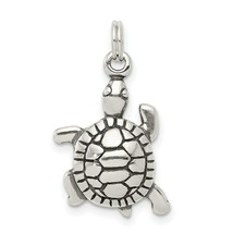 Sterling Silver 925 Antiqued Finish Turtle Charm Pendant 0.87 Inch - $23.37