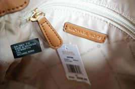 Michael Kors Bedford Small Flap Crossbody Jacquard Leaher Bag MK Beige Brown image 9