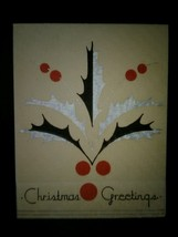 Art Deco Holly Mistletoe Vintage Christmas Card - $3.00