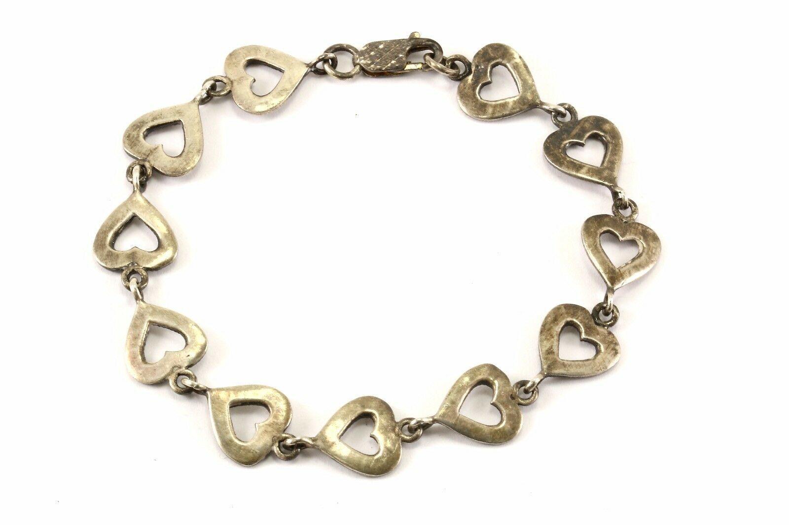 Vintage Heart Marcasite Design Link Bracelet 925 Sterling BR 3064