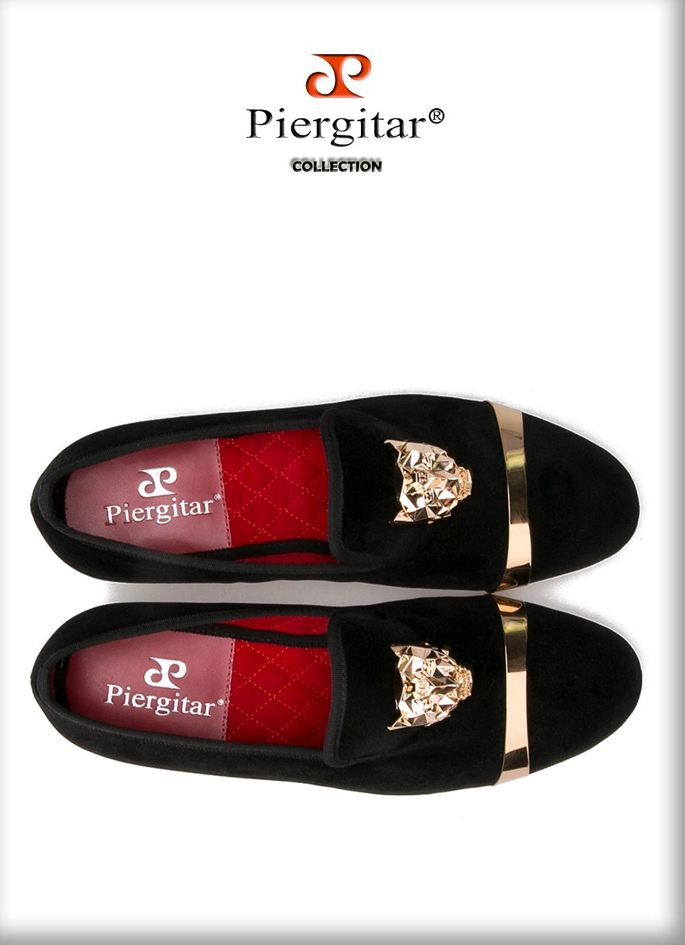 New fashion mens handmade black velvet loafers with PP tiger and gold buckle !