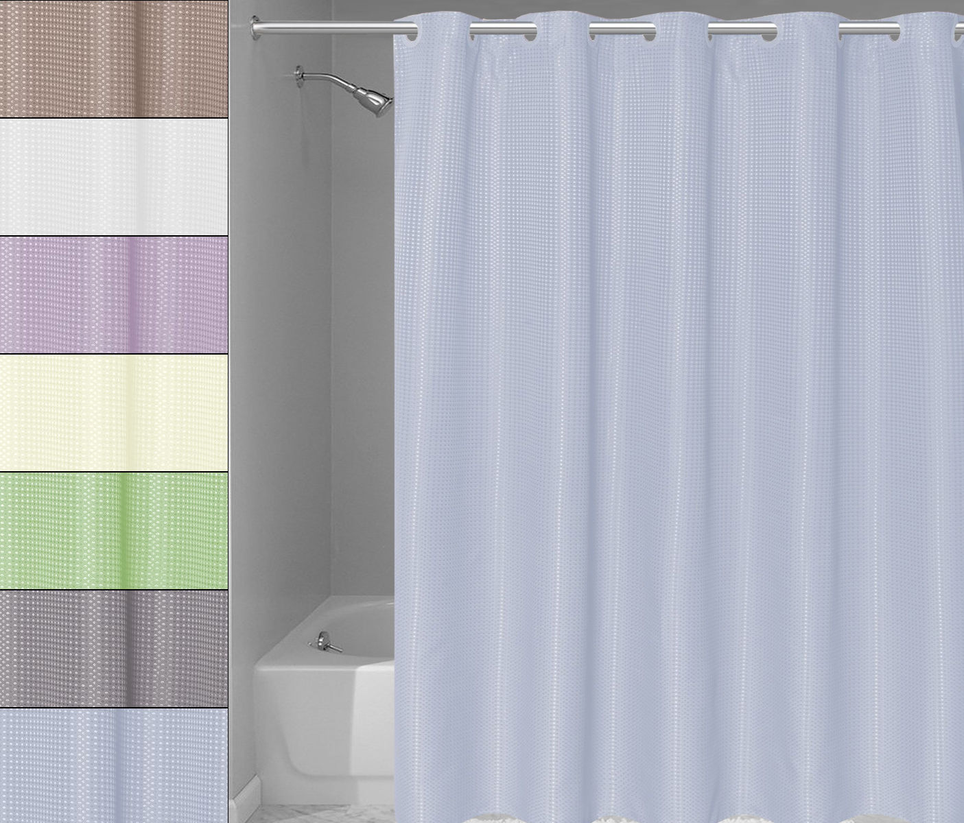 Ez On Waffle Weave Fabric Shower Curtain And 50 Similar Items