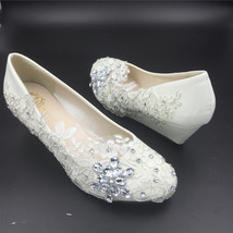 Women Wedding Wedges Shoes/Ladies Bridal Wedges Shoes,Wedding Low Heels ... - $38.00+