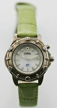 Fossil Watch Womens Light Stainless Silver Steel Leather Green 50m White... - $33.46