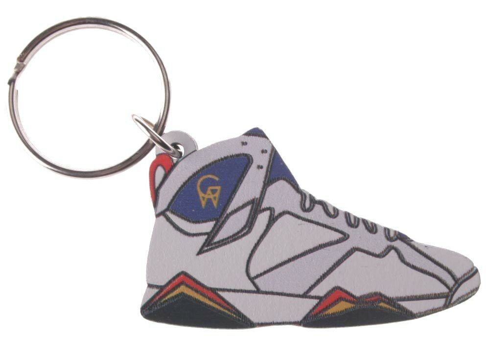 Good Wood NYC Olympic 7 Sneaker Keychain Wht/Red/Blu VII Shoe Key Ring key Fob