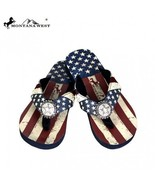 Montana West American USA Flag Star Bling Flip Flops Rhinestones Thin So... - $35.99