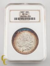 1887 de Plata Morgan Dólar NGC Graduado Ms 64 Precioso Azul Cerceta Llanta - $111.46