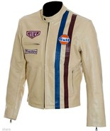 Men's Steve McQueen Le Mans Gulf Racing Style Leather Jacket - S M L XL ... - £39.88 GBP+