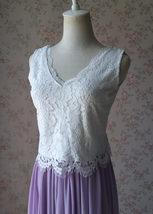 Rustic Wedding Lavender Maxi Chiffon Skirt Lace Top 2-Piece Bridesmaid Dresses image 5