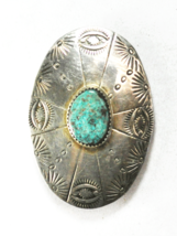 """Sterling Silver Oval Etched Sun Eyes Turquoise Bolo Tie Clip 1-1/2"""" x 2-... - $197.99"""