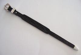 Western Jewelry Top Grain Hand Made Black Embossed Leather Bracelet  - $12.99