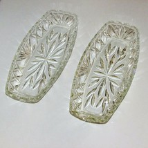 "VINTAGE GLASS RELISH DISH 2 CLEAR FAN PATTERN 9 1/2"" LONG SCALLOPED  - $9.61"
