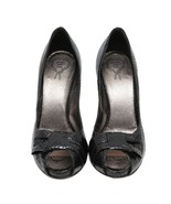 Authentic Rodo Black Snakeskin Texture Open Toe Heels Slingbacks US 10.5... - $172.98