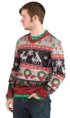Ugly Christmas Sweater Frisky Deer Naughty Mens Adult Costume Party FR115908