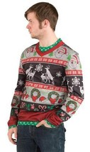 Ugly Christmas Sweater Frisky Deer Naughty Mens Adult Costume Party FR11... - $47.99