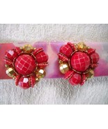 1960s RED & AB FACETED PLASTIC BEAD CLUSTER HUGGIE CLIP-ON EARRINGS - $6.29