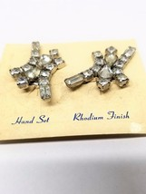 Abstract Rhinestone Earrings Hand Set Rhodium Finish Clip On Vintage - $17.99